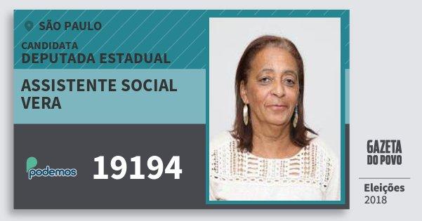 Santinho Assistente Social Vera 19194 (PODE) Deputada Estadual | São Paulo | Eleições 2018