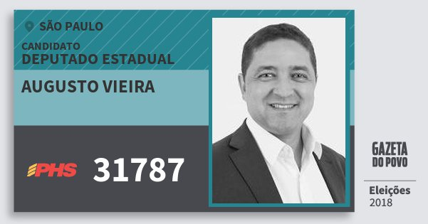 Santinho Augusto Vieira 31787 (PHS) Deputado Estadual | São Paulo | Eleições 2018