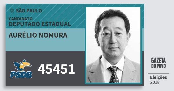Santinho Aurélio Nomura 45451 (PSDB) Deputado Estadual | São Paulo | Eleições 2018