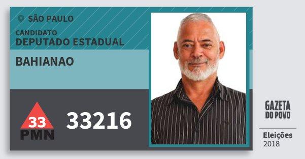Santinho Bahianao 33216 (PMN) Deputado Estadual | São Paulo | Eleições 2018
