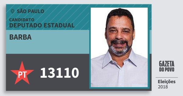 Santinho Barba 13110 (PT) Deputado Estadual | São Paulo | Eleições 2018
