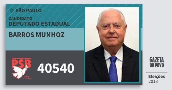 Santinho Barros Munhoz 40540 (PSB) Deputado Estadual | São Paulo | Eleições 2018