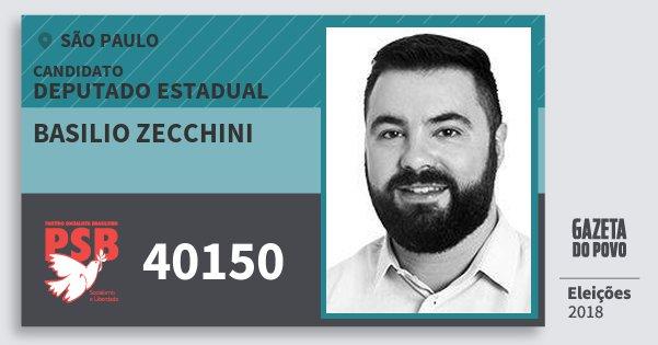 Santinho Basilio Zecchini 40150 (PSB) Deputado Estadual | São Paulo | Eleições 2018
