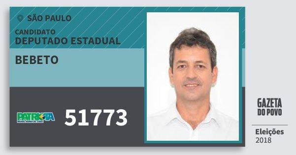 Santinho Bebeto 51773 (PATRI) Deputado Estadual | São Paulo | Eleições 2018
