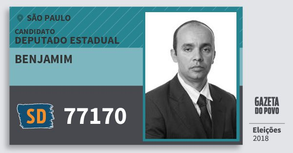 Santinho Benjamim 77170 (SOLIDARIEDADE) Deputado Estadual | São Paulo | Eleições 2018