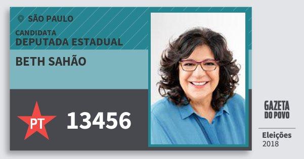 Santinho Beth Sahão 13456 (PT) Deputada Estadual   São Paulo   Eleições 2018