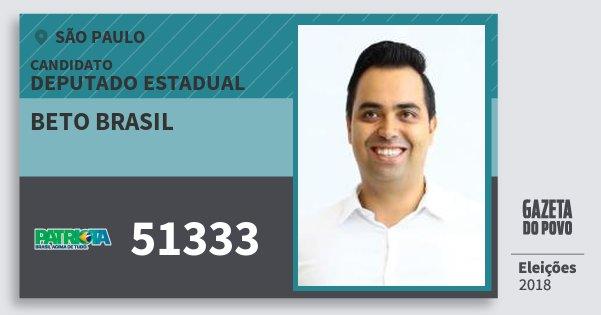 Santinho Beto Brasil 51333 (PATRI) Deputado Estadual | São Paulo | Eleições 2018