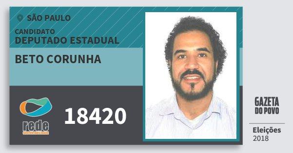 Santinho Beto Corunha 18420 (REDE) Deputado Estadual | São Paulo | Eleições 2018