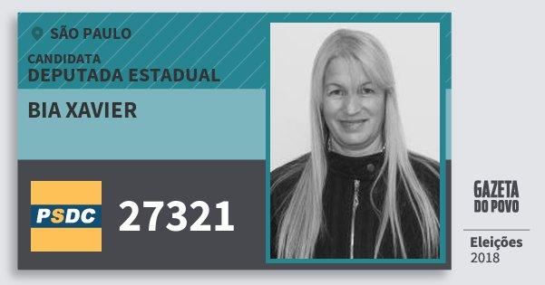 Santinho Bia Xavier 27321 (DC) Deputada Estadual | São Paulo | Eleições 2018