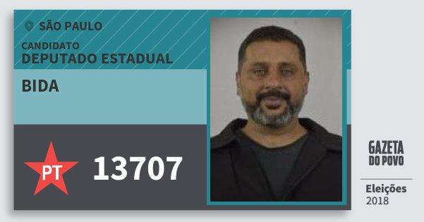 Santinho Bida 13707 (PT) Deputado Estadual | São Paulo | Eleições 2018