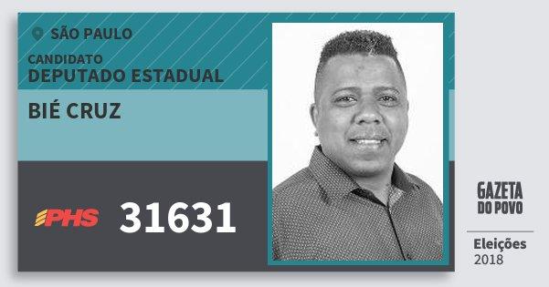 Santinho Bié Cruz 31631 (PHS) Deputado Estadual | São Paulo | Eleições 2018