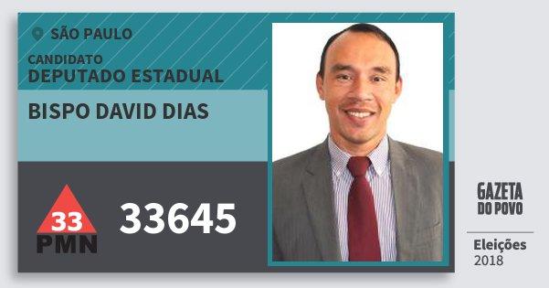 Santinho Bispo David Dias 33645 (PMN) Deputado Estadual | São Paulo | Eleições 2018