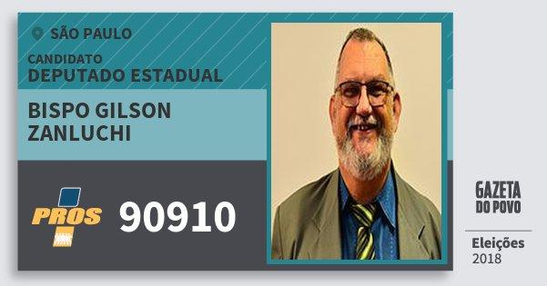 Santinho Bispo Gilson Zanluchi 90910 (PROS) Deputado Estadual | São Paulo | Eleições 2018