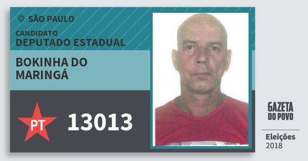 Santinho Bokinha do Maringá 13013 (PT) Deputado Estadual | São Paulo | Eleições 2018