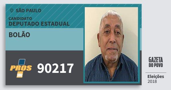 Santinho Bolão 90217 (PROS) Deputado Estadual | São Paulo | Eleições 2018