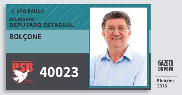 Santinho Bolçone 40023 (PSB) Deputado Estadual | São Paulo | Eleições 2018