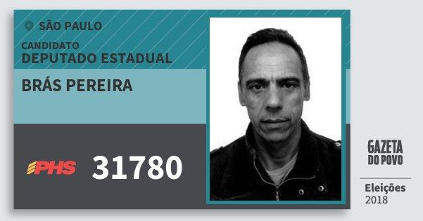 Santinho Brás Pereira 31780 (PHS) Deputado Estadual | São Paulo | Eleições 2018