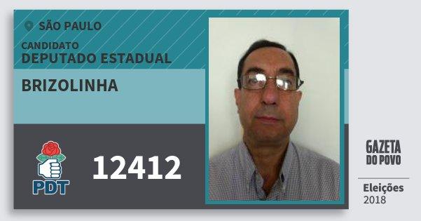 Santinho Brizolinha 12412 (PDT) Deputado Estadual | São Paulo | Eleições 2018