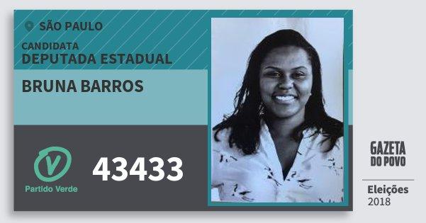 Santinho Bruna Barros 43433 (PV) Deputada Estadual | São Paulo | Eleições 2018
