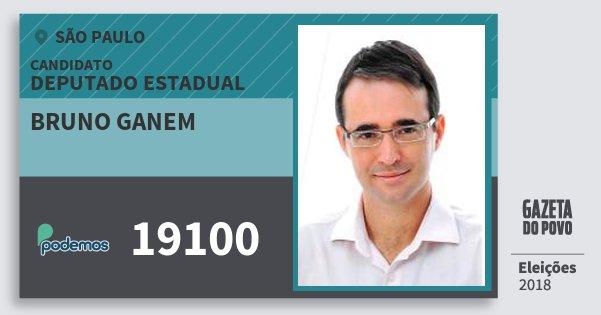 Santinho Bruno Ganem 19100 (PODE) Deputado Estadual | São Paulo | Eleições 2018