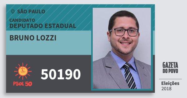 Santinho Bruno Lozzi 50190 (PSOL) Deputado Estadual | São Paulo | Eleições 2018