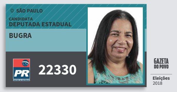 Santinho Bugra 22330 (PR) Deputada Estadual | São Paulo | Eleições 2018
