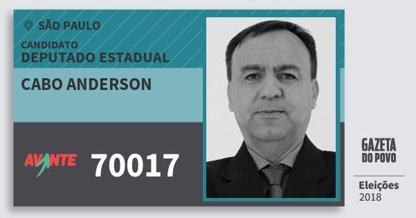 Santinho Cabo Anderson 70017 (AVANTE) Deputado Estadual | São Paulo | Eleições 2018