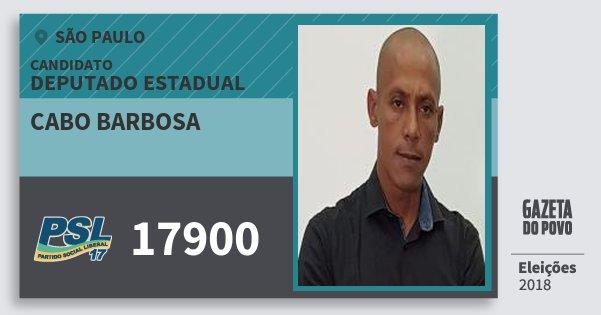 Santinho Cabo Barbosa 17900 (PSL) Deputado Estadual | São Paulo | Eleições 2018