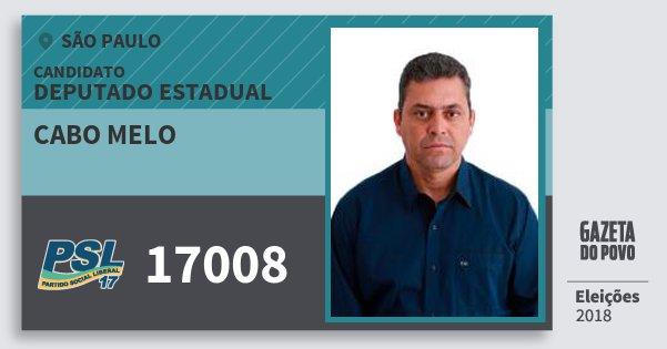 Santinho Cabo Melo 17008 (PSL) Deputado Estadual | São Paulo | Eleições 2018
