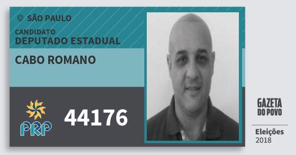 Santinho Cabo Romano 44176 (PRP) Deputado Estadual | São Paulo | Eleições 2018
