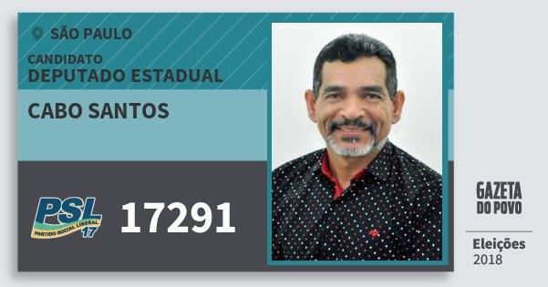 Santinho Cabo Santos 17291 (PSL) Deputado Estadual | São Paulo | Eleições 2018