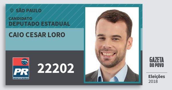 Santinho Caio Cesar Loro 22202 (PR) Deputado Estadual | São Paulo | Eleições 2018