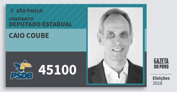Santinho Caio Coube 45100 (PSDB) Deputado Estadual | São Paulo | Eleições 2018