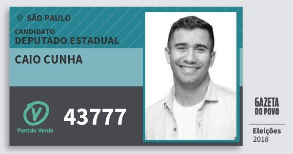Santinho Caio Cunha 43777 (PV) Deputado Estadual | São Paulo | Eleições 2018
