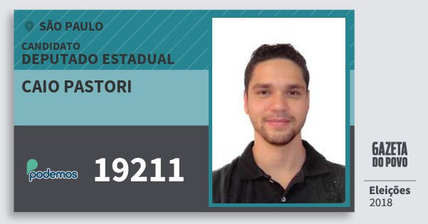 Santinho Caio Pastori 19211 (PODE) Deputado Estadual | São Paulo | Eleições 2018