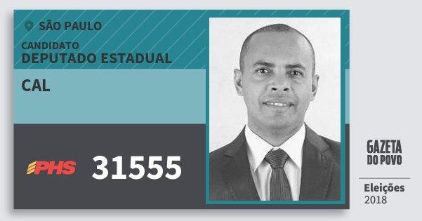 Santinho Cal 31555 (PHS) Deputado Estadual | São Paulo | Eleições 2018