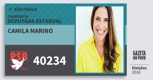 Santinho Camila Marino 40234 (PSB) Deputada Estadual | São Paulo | Eleições 2018