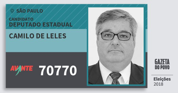 Santinho Camilo de Leles 70770 (AVANTE) Deputado Estadual | São Paulo | Eleições 2018