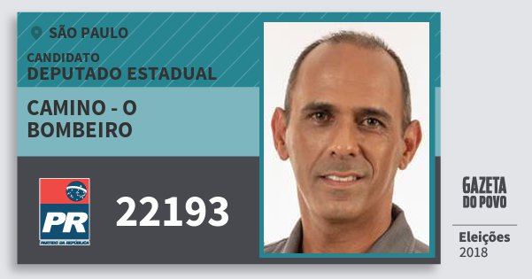 Santinho Camino - O Bombeiro 22193 (PR) Deputado Estadual | São Paulo | Eleições 2018