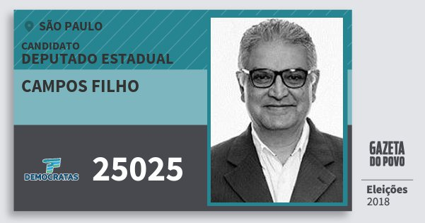 Santinho Campos Filho 25025 (DEM) Deputado Estadual | São Paulo | Eleições 2018
