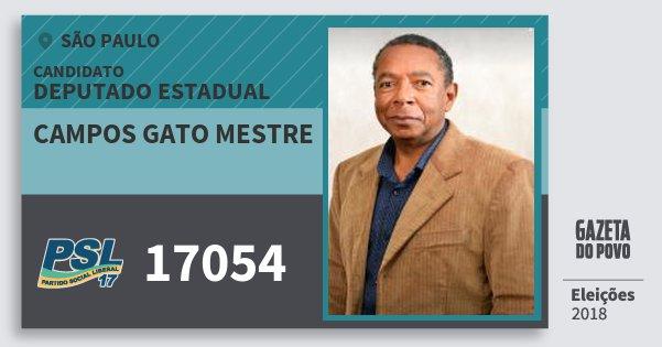 Santinho Campos Gato Mestre 17054 (PSL) Deputado Estadual | São Paulo | Eleições 2018