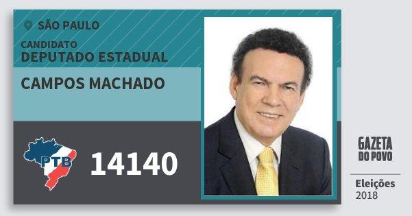 Santinho Campos Machado 14140 (PTB) Deputado Estadual | São Paulo | Eleições 2018