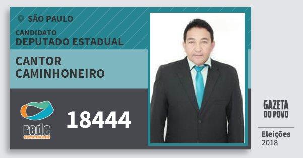 Santinho Cantor Caminhoneiro 18444 (REDE) Deputado Estadual | São Paulo | Eleições 2018