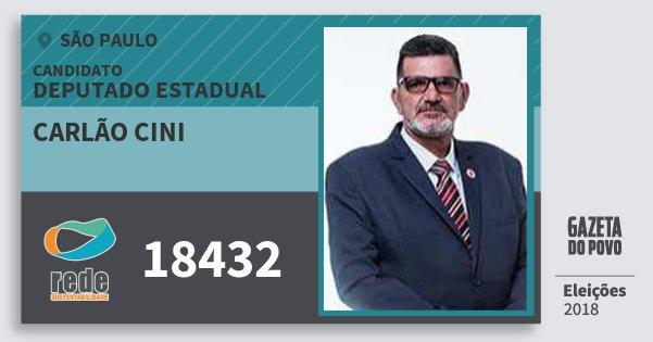 Santinho Carlão Cini 18432 (REDE) Deputado Estadual | São Paulo | Eleições 2018