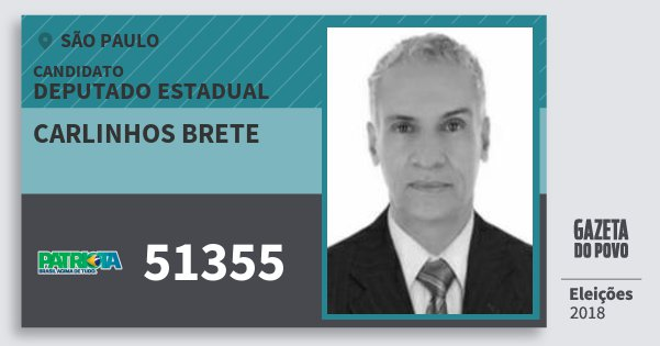 Santinho Carlinhos Brete 51355 (PATRI) Deputado Estadual | São Paulo | Eleições 2018