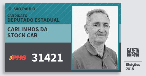 Santinho Carlinhos da Stock Car 31421 (PHS) Deputado Estadual | São Paulo | Eleições 2018