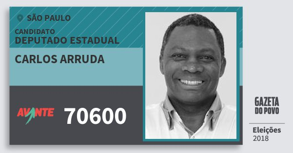 Santinho Carlos Arruda 70600 (AVANTE) Deputado Estadual | São Paulo | Eleições 2018