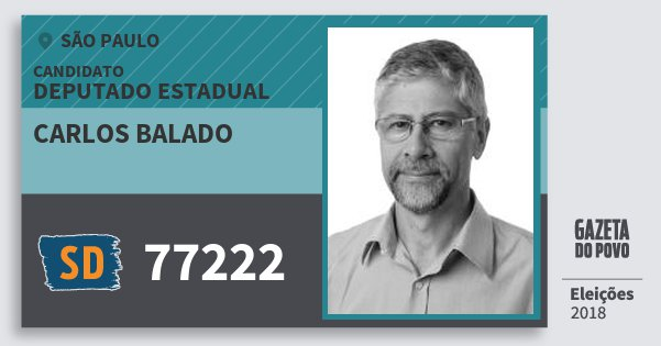 Santinho Carlos Balado 77222 (SOLIDARIEDADE) Deputado Estadual | São Paulo | Eleições 2018