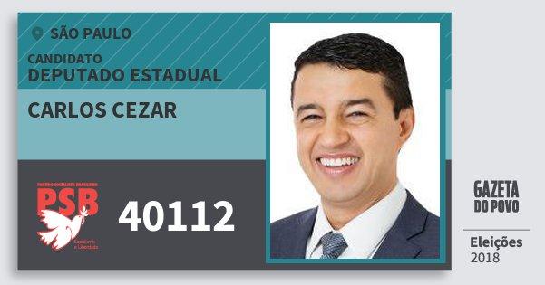 Santinho Carlos Cezar 40112 (PSB) Deputado Estadual | São Paulo | Eleições 2018