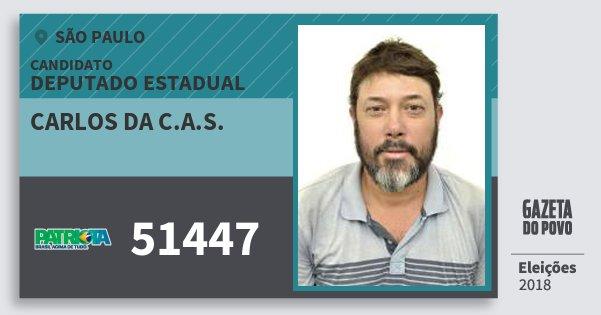 Santinho Carlos da C.a.s. 51447 (PATRI) Deputado Estadual | São Paulo | Eleições 2018